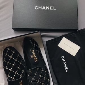 CHANEL Shoes - [SOLD] Chanel CC Velvet Loafers in size 38